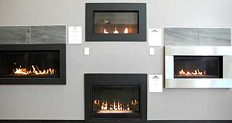 wall of fireplaces